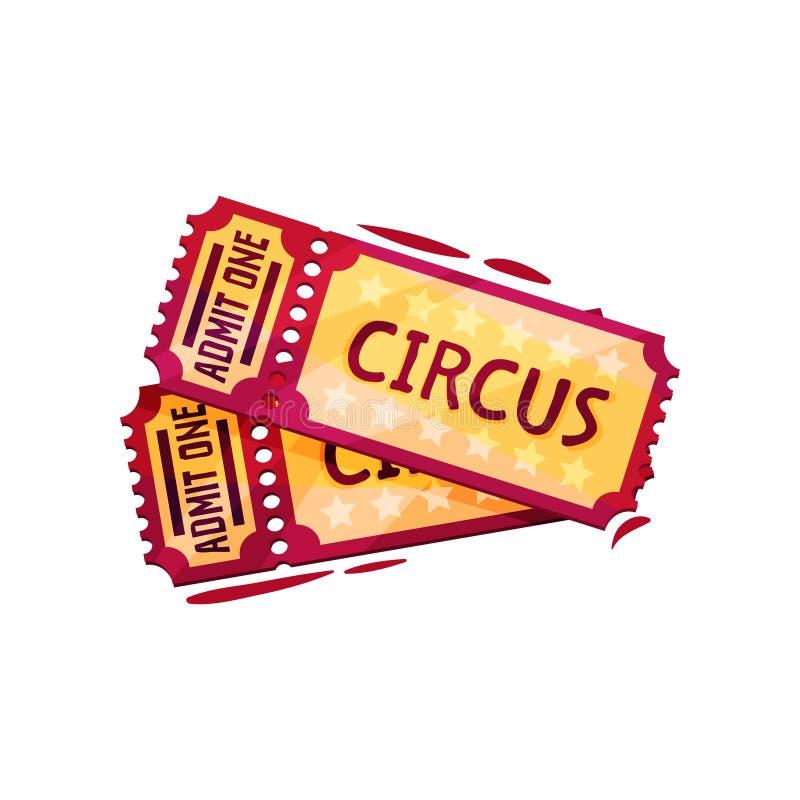 Twee kaartjes voor circusprestaties Vermaakthema Beeldverhaal vectorontwerp voor de reclame van affiche of banner stock illustratie