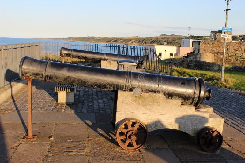 Twee kanonnen die uit aan St Andrews Bay, Fife onder ogen zien royalty-vrije stock foto's