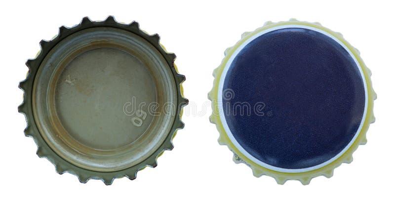 De geïsoleerdeo Blauwe en Gele Kappen van het Metaal royalty-vrije stock afbeeldingen