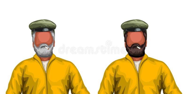 Twee kapiteins op wit royalty-vrije illustratie