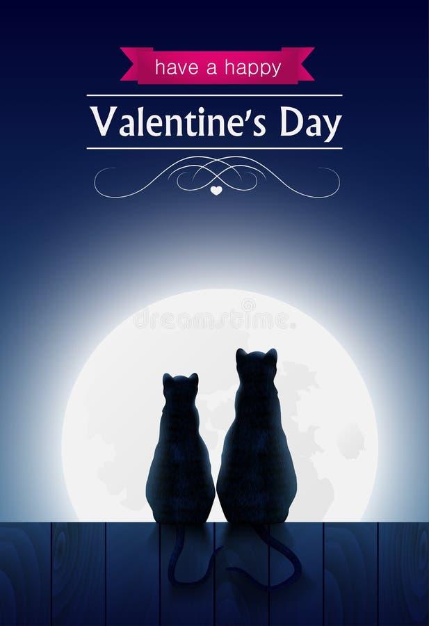 Twee katten die o zitten een omheining royalty-vrije illustratie