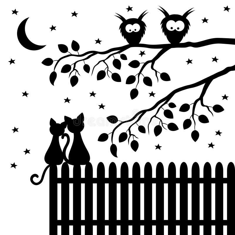Twee katten die op de omheining zitten vector illustratie