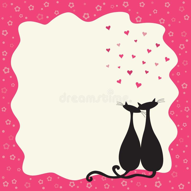 Twee katten in liefde in een retro frame stock illustratie