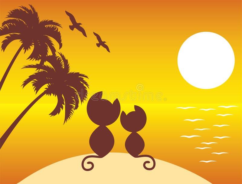 Twee katten in liefde onder palmen royalty-vrije illustratie