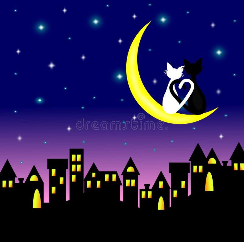 Twee katten in liefdezitting op Crescent Moon boven de stad bij nacht vector illustratie