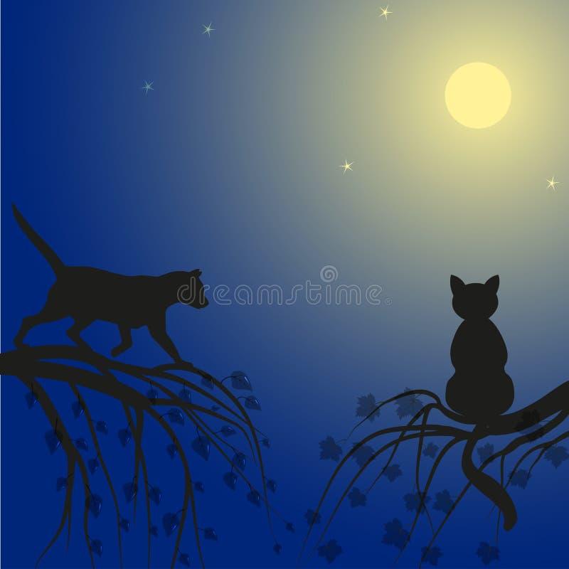 Twee katten op boom royalty-vrije illustratie