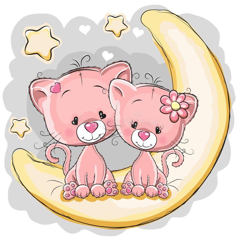 Twee katten op de maan stock illustratie