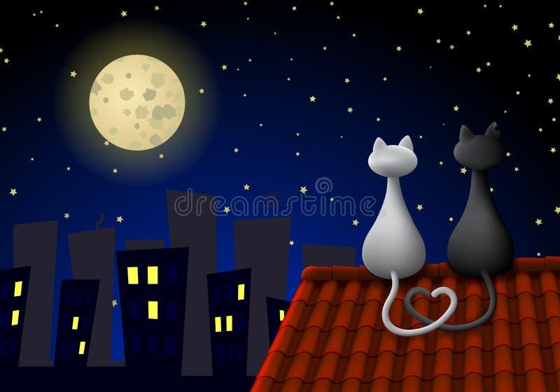 Twee katten op een dak vector illustratie