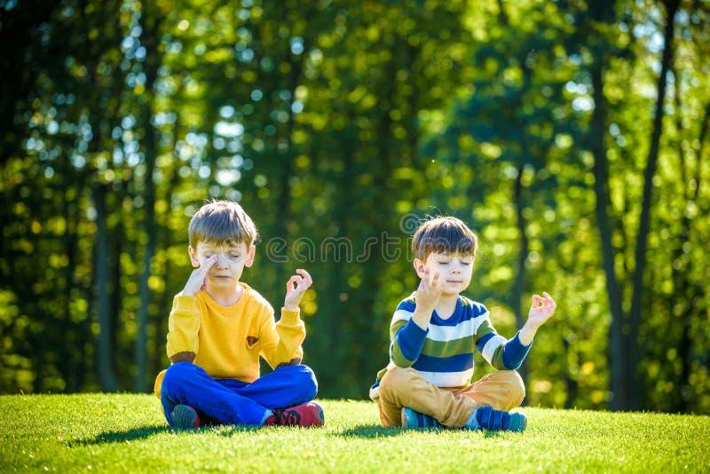 Twee Kaukasische vrienden die van de jongensbroer op vers groen grasgebied gaan zitten en maken meditatie in vrijetijdskleding ge royalty-vrije stock foto's