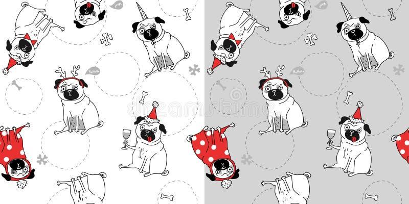 Twee Kerstmis naadloze textuur met pugs royalty-vrije illustratie