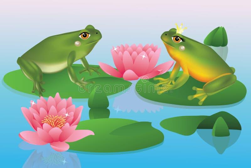Twee kikkers. vector illustratie