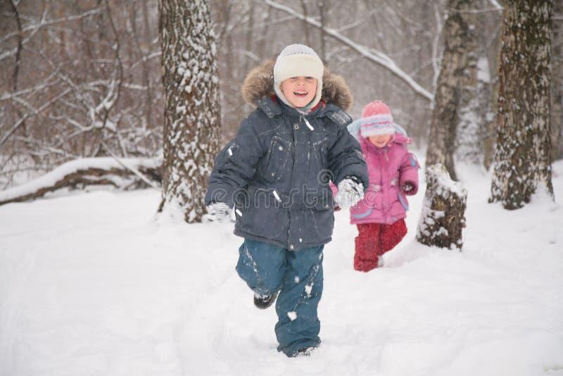 Twee kinderen in bos in de winter stock afbeelding