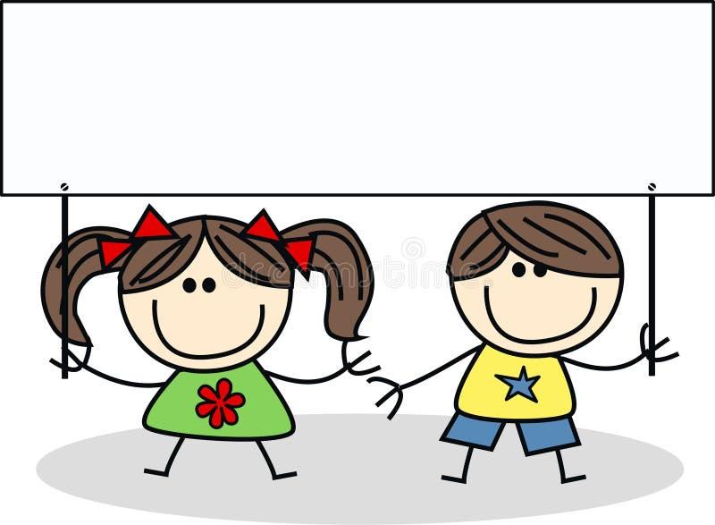 Twee kinderen met een aanplakbiljet vector illustratie