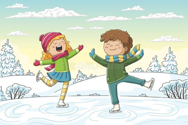 Twee kinderen schaatsen vector illustratie