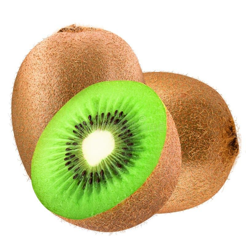 Twee kiwifruit en half geïsoleerd stock afbeeldingen