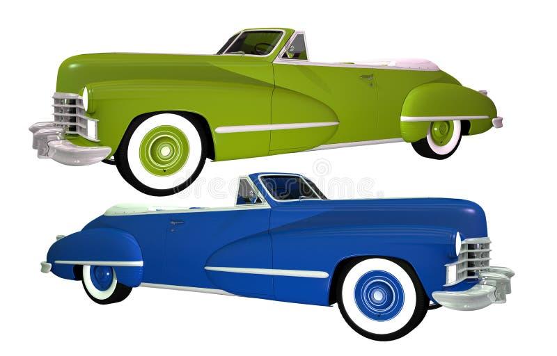 Twee Klassieke Geïsoleerde Auto's stock illustratie