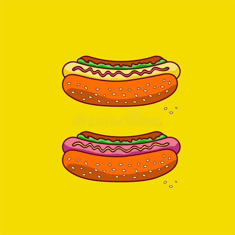 Twee klassieke hotdogs op een gele achtergrond Snel voedsel stock fotografie