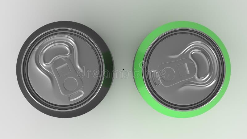Twee klein zwart en groen blikkenmodel van de aluminiumsoda op witte bac royalty-vrije stock foto