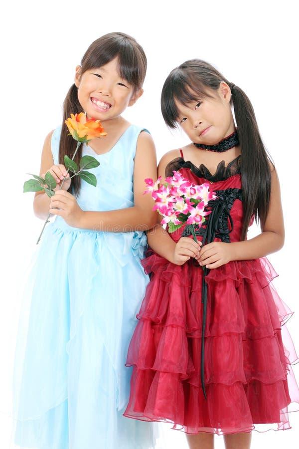 Twee Kleine Aziatische Meisjes Royalty-vrije Stock Fotografie