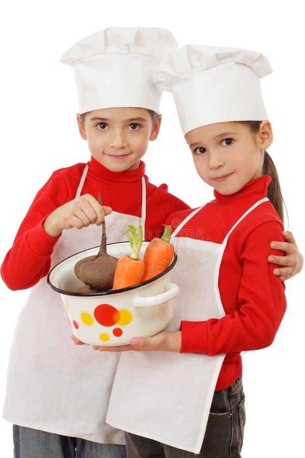Twee kleine belangrijkst-kooktoestellen die een pot houden royalty-vrije stock foto