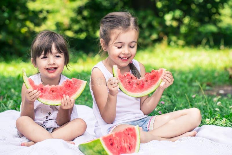Twee kleine leuke meisjes die watermeloen in openlucht eten royalty-vrije stock afbeeldingen