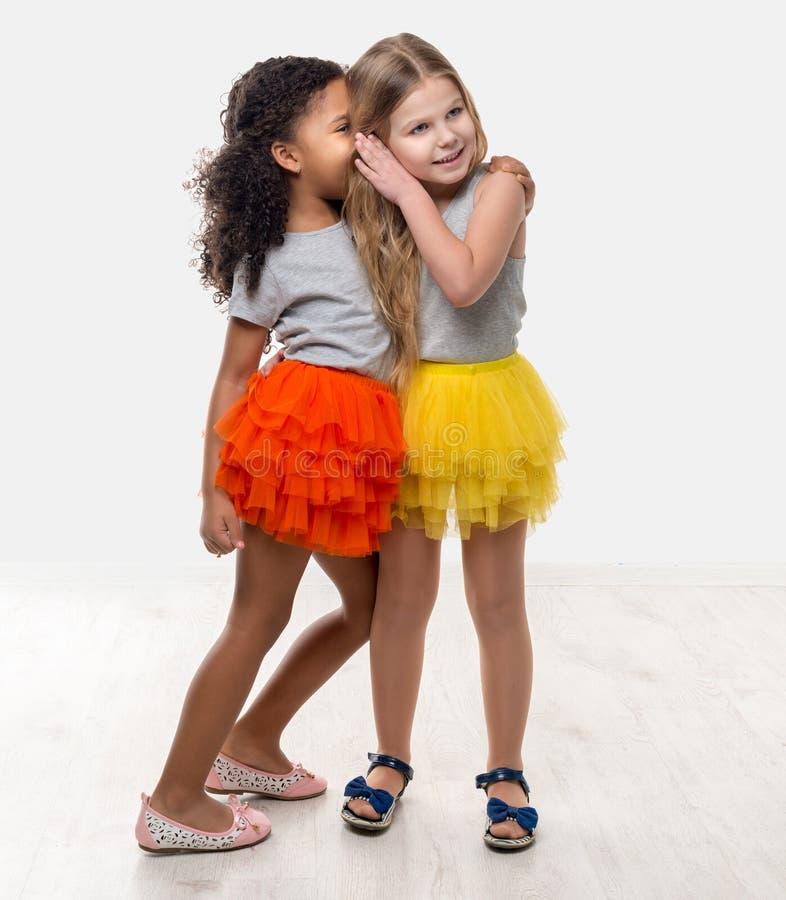 Twee kleine mooie meisjes in het kleurrijke rokken spreken stock foto's
