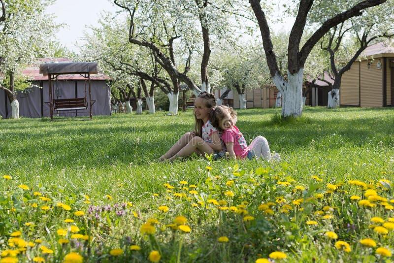 Twee kleine zusters die bij de tuin spelen royalty-vrije stock afbeeldingen