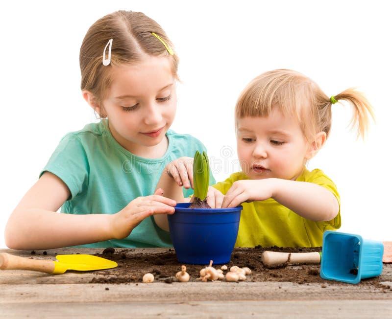 Twee kleine zusters zijn bezig geweest met het tuinieren stock afbeelding