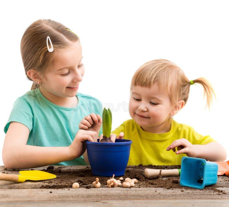 Twee kleine zusters zijn bezig geweest met het tuinieren stock foto