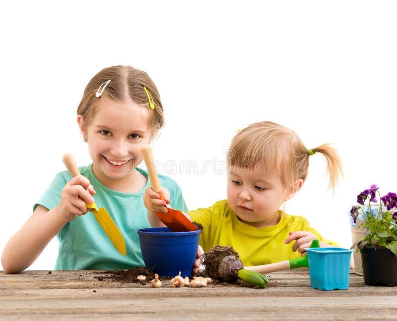 Twee kleine zusters zijn bezig geweest met het tuinieren stock fotografie
