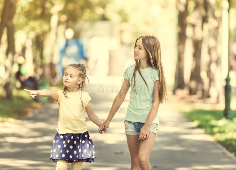 Twee kleine zustersgang in het park royalty-vrije stock foto