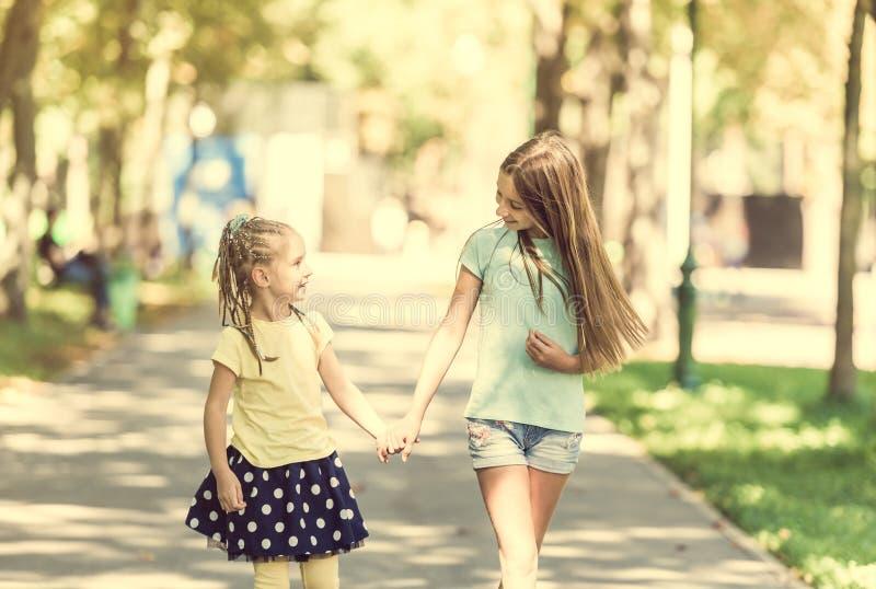 Twee kleine zustersgang in het park stock fotografie