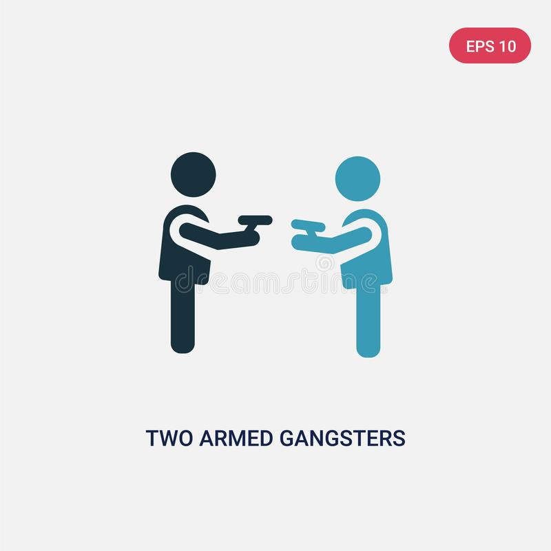 Twee kleur twee bewapende gangsters die elkaar met hun wapens vectorpictogram richten van mensenconcept geïsoleerd bewapend blauw royalty-vrije illustratie