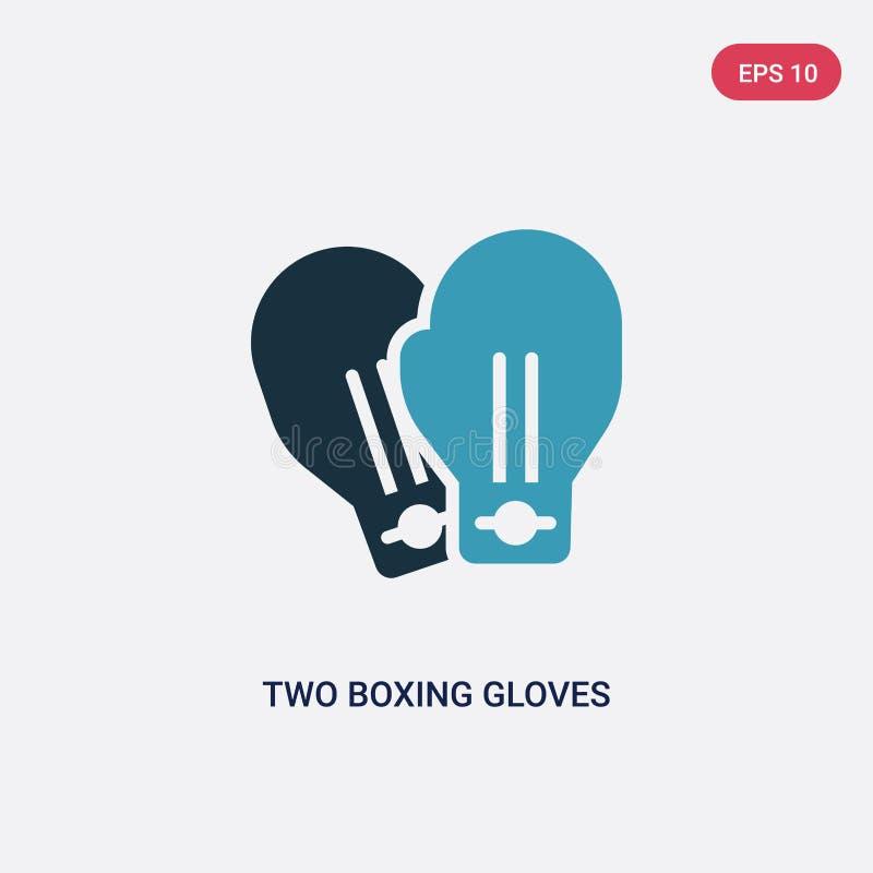 Twee kleur twee bokshandschoenen vectorpictogram van sportenconcept ge?soleerd blauw twee symbool van het bokshandschoenen het ve royalty-vrije illustratie