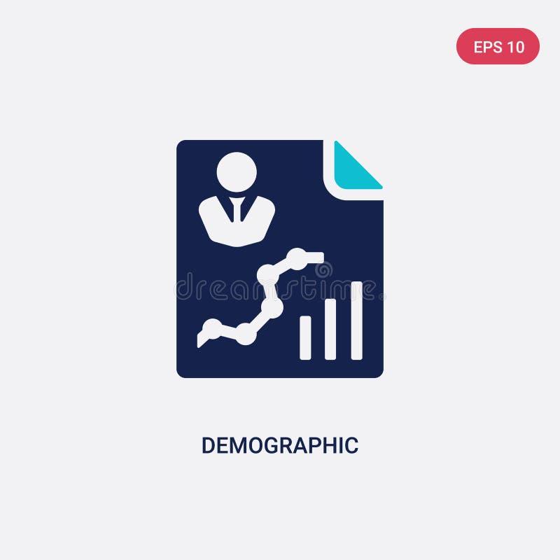 Twee kleur demografische vectorpictogram van groot gegevensconcept geïsoleerd blauw demografisch vectorteken kan worden gebruikt  vector illustratie