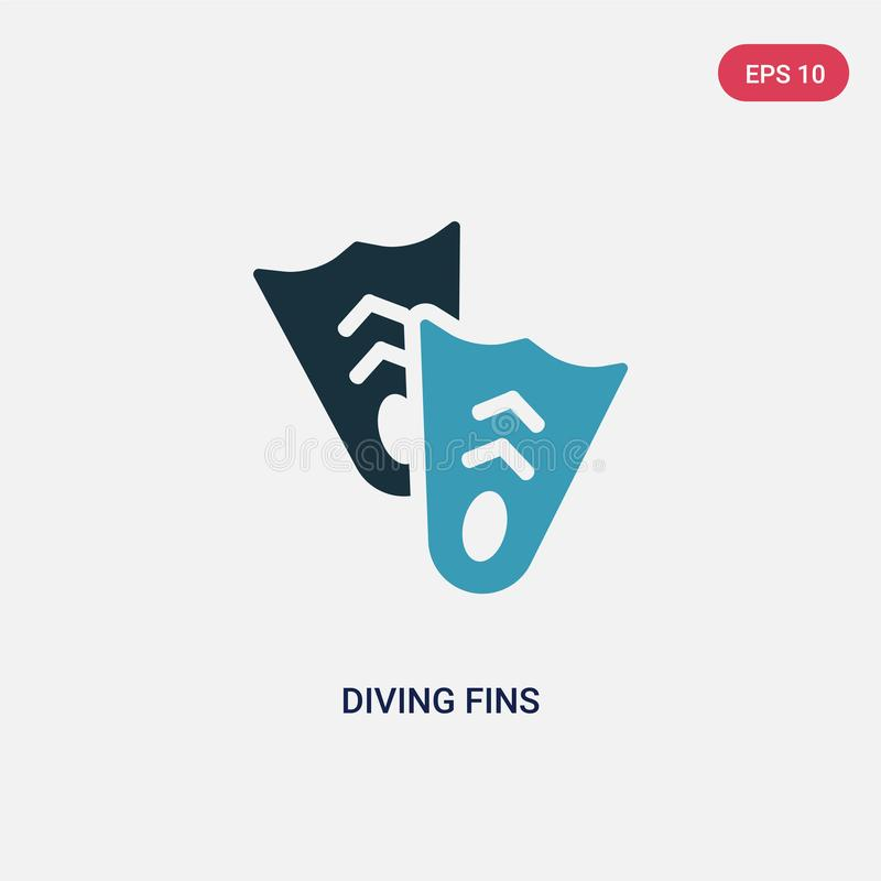 Twee kleur het duiken vinnen vectorpictogram van de zomerconcept het geïsoleerde blauwe het duiken symbool van het vinnen vectort vector illustratie