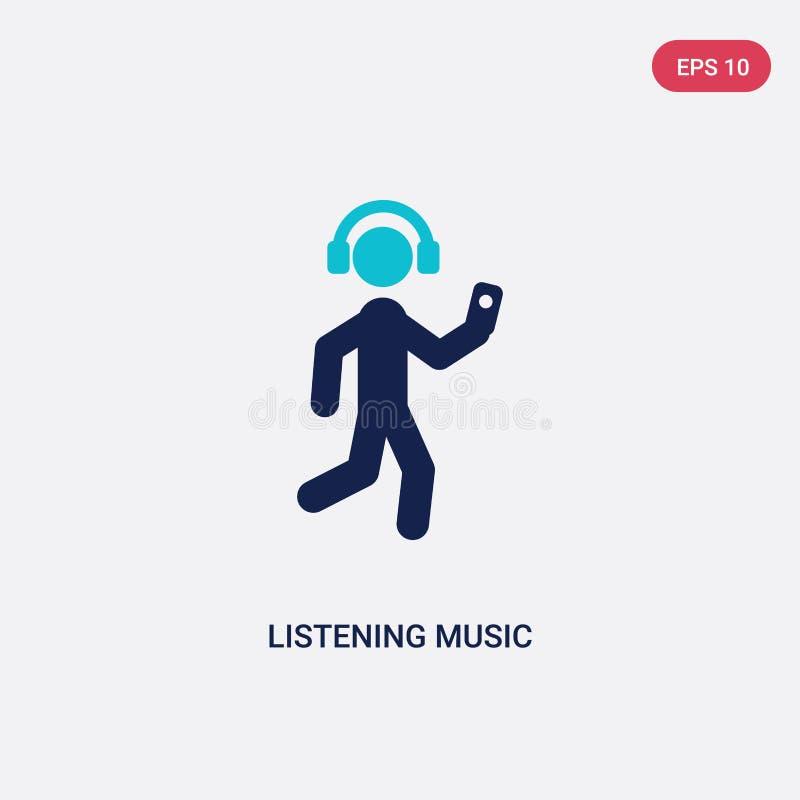 twee kleur het luisteren muziek vectorpictogram van activiteit en hobbysconcept het geïsoleerde blauwe het luisteren symbool van  vector illustratie