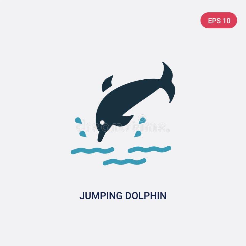 Twee kleur het springen dolfijn vectorpictogram van de zomerconcept het geïsoleerde blauwe het springen symbool van het dolfijn v vector illustratie