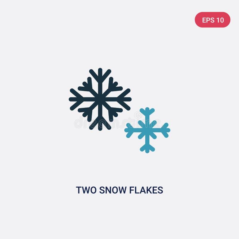 Twee kleur twee het vectorpictogram van sneeuwvlokken van vormenconcept geïsoleerd blauw twee vector het tekensymbool van sneeuwv stock illustratie