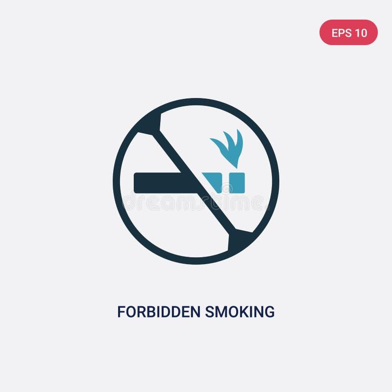 Twee kleur verboden rokend vectorpictogram van tekensconcept het geïsoleerde blauwe verboden rokende vectortekensymbool kan gebru stock illustratie
