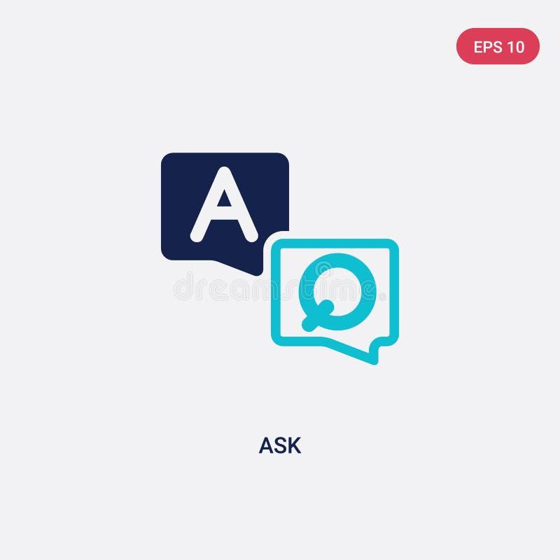 Twee kleur vragen vectorpictogram van e-learning en onderwijsconcept geïsoleerd blauw vectorteken kan worden gebruikt voor web, m royalty-vrije illustratie
