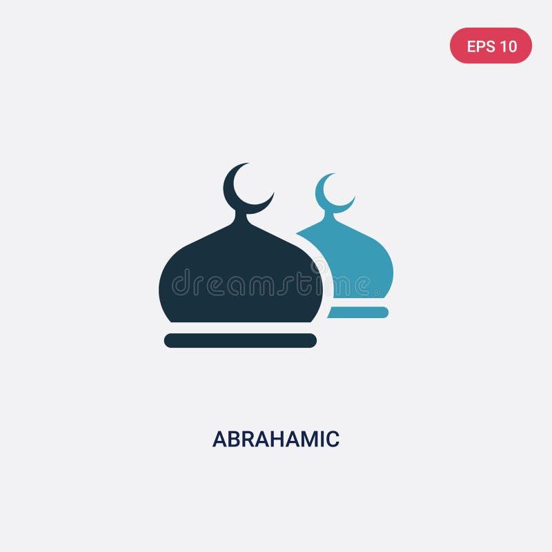 Twee kleuren abrahamic vectorpictogram van godsdienstconcept het geïsoleerde blauwe abrahamic vectortekensymbool kan gebruik voor royalty-vrije illustratie