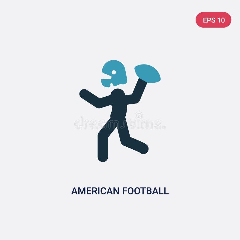 Twee kleuren Amerikaanse voetbalster die werpend de bal in zijn hand vectorpictogram van sportenconcept spelen geïsoleerde blauwe royalty-vrije illustratie