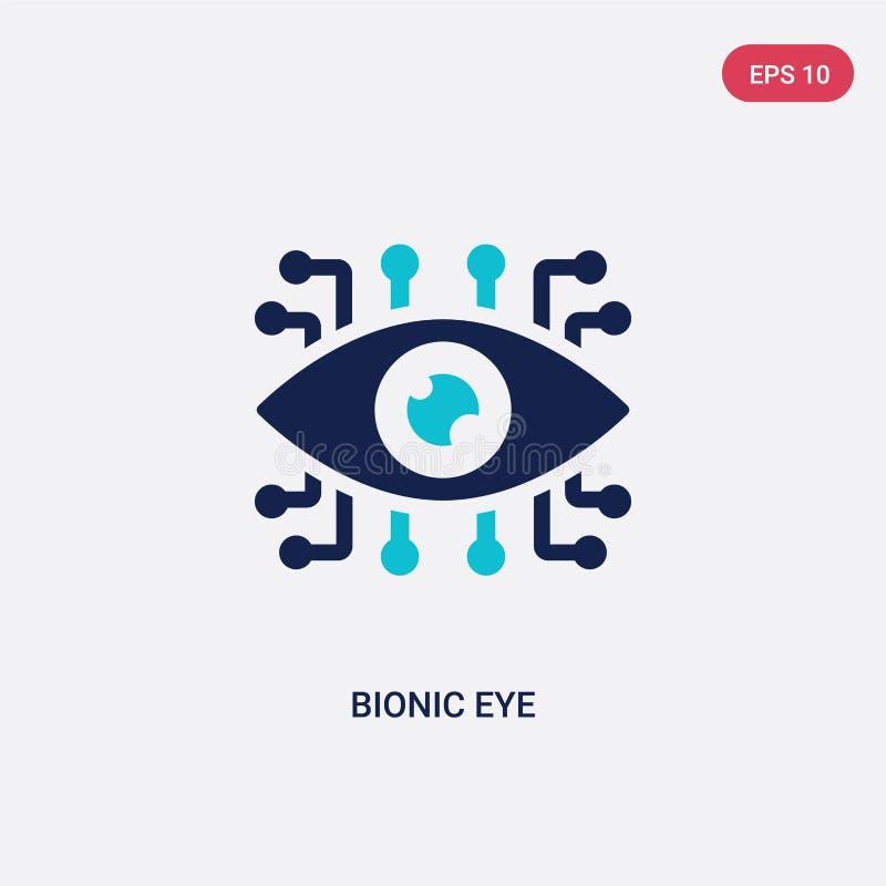 Twee kleuren bionic eye vectorikoon van kunstmatig intelligentieconcept geïsoleerd blauw bionic eye vectorsymbool kan worden gebr stock illustratie