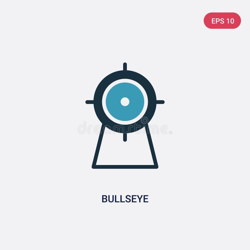 Twee kleuren bullseye vectorpictogram van sportenconcept het geïsoleerde blauwe symbool van het bullseye vectorteken kan gebruik  vector illustratie