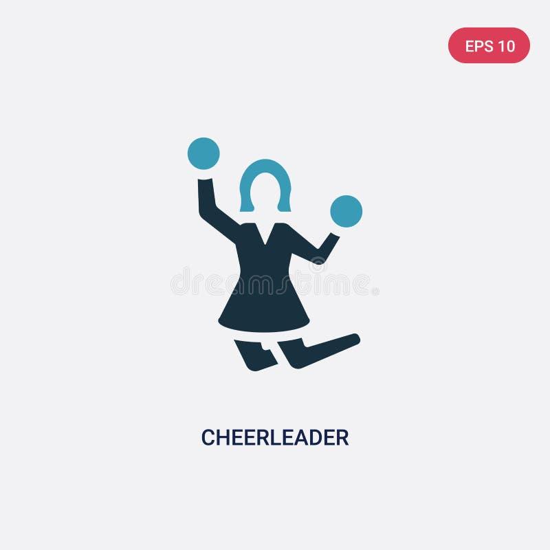 Twee kleuren cheerleader vectorpictogram van smileysconcept het geïsoleerde blauwe symbool van het cheerleader vectorteken kan ge vector illustratie