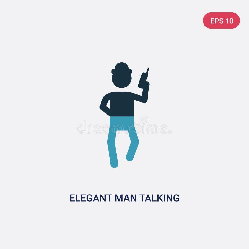 Twee kleuren elegante mens die door telefoon vectorpictogram spreken van mensenconcept geïsoleerde blauwe elegante mens die door  stock illustratie