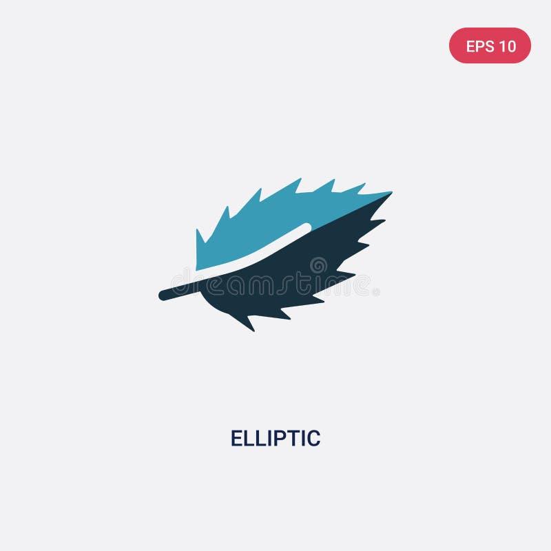 Twee kleuren elliptisch vectorpictogram van vormenconcept het geïsoleerde blauwe elliptische vectortekensymbool kan gebruik voor  stock illustratie