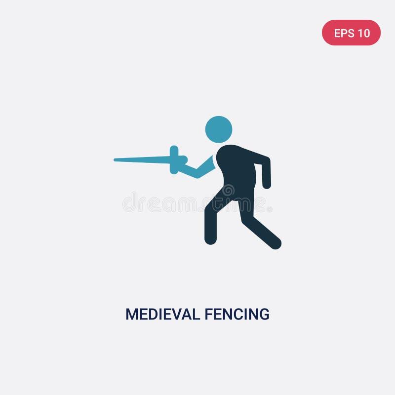 Twee kleuren middeleeuws schermend vectorpictogram van sportenconcept het geïsoleerde blauwe middeleeuwse schermende vectortekens vector illustratie