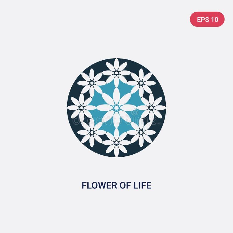 Twee kleurenbloem van het levens vectorpictogram van vormen en symbolenconcept de geïsoleerde blauwe bloem van symbool van het he vector illustratie